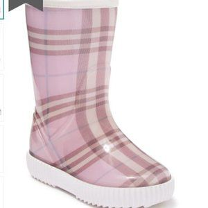 Burberry Pink Asalaman Plaid Waterproof Boot 33 34